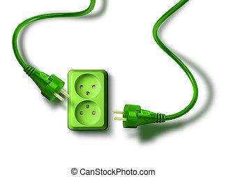 grün, energie, bedürfnis, begriff, steckdose