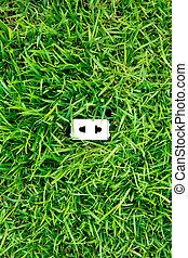 grün, energie, begriff, :, outlet, in, gras