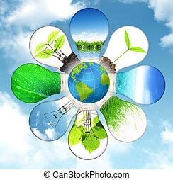 grün, energie, begriff, -, retten, grüner planet