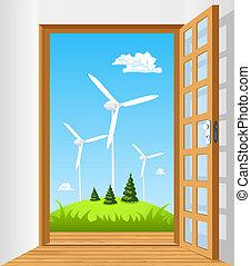 grün, energie, tür offen