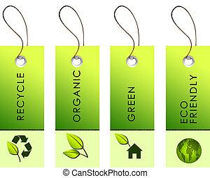 grün, etiketten, mit, natur, symbole