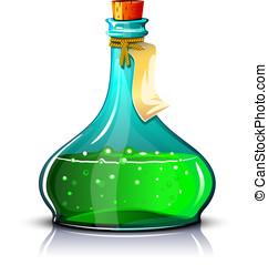 grün, flasche, elixier