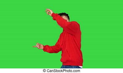grün, gehen, mann, schirm, poppig, key., tänzer, tanzen, chroma
