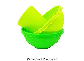 grün, geschirr, plastik