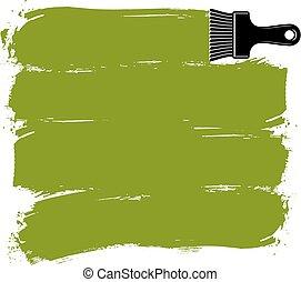 grün, grunge, brushstrokes, acryl, proben, geschaffen, mit, paintbrush., wand, gemälde, vektor, begrifflich, illustration.