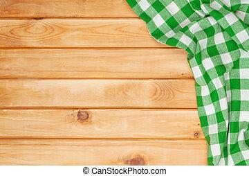 grün, handtuch, aus, hölzern, küchentisch