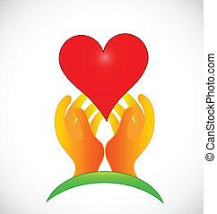 grün, hoffnungsvoll, hände, logo