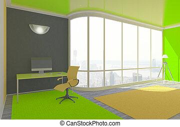 Grün, Inneneinrichtung, Mit, Arbeitsplatz