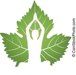 grün, joga, blatt, logo