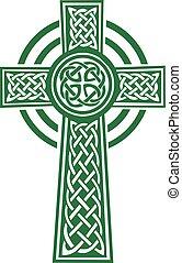 grün, keltisches kreuz, mit, details