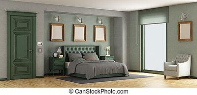 grün, klassisch, meister, schalfzimmer