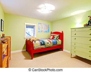 grün, knaben, kinder, schalfzimmer, mit, rotes , bed.
