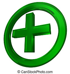 grün, kreuz, in, kreis, gesundheit, symbol