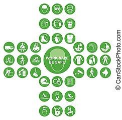 grün, kreuzförmig, gesundheit sicherheit, ikone, sammlung