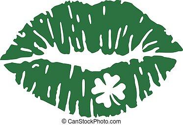 grün, kuß, mit, kleeblat