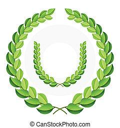 grün, laurel kränze