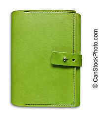 grün, leder, reisekoffer, notizbuch, freigestellt