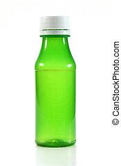 grün, leerer , plastikflasche, weiß, hintergrund