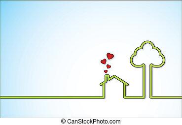 grün, lieb, daheim, und, rotes , lieben herz
