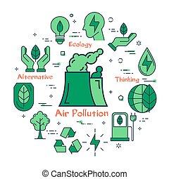 grün, luftverschmutzung, begriff