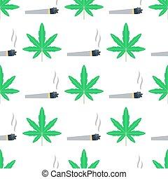 grün, marihuana, hintergrund, vektor, abbildung, seamless, muster, marihuana, blatt, kraut, narkotisch, gewebe