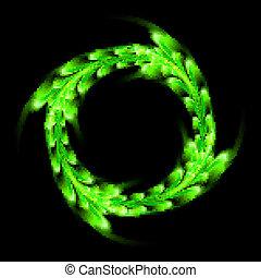 grün, muster, auf, der, schwarzer hintergrund