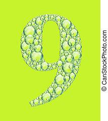 grün, neun, blasen