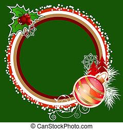 grün, rahmen, mit, weihnachtsdekorationen