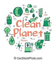 grün, sauber, planet, begriff