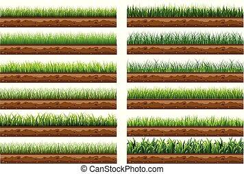 grün, schöne , gras, natürlich, gebraucht, vektor, weißes, hintergrund., satz, freigestellt, illustration., getrennt, boden