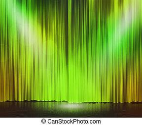 grün, scheinwerfer, hintergrund, buehne