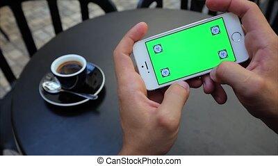 grün, schirm, für, spielen spielen, telefon, horizontal, weißes, iphone, etikette