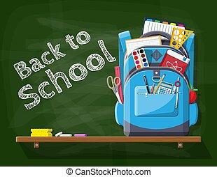 grün, schule, tafel, backpack.