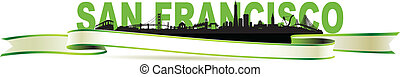 grün, skyline, francisco, banner, san