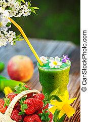 grün, smoothie, in, fruehjahr