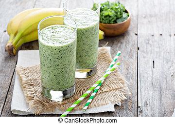 grün, smoothie, mit, banane, und, grünkohl