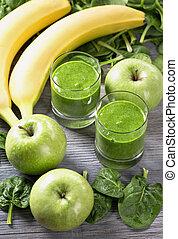 grün, smoothie, mit, spinat, und, banane