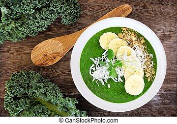 grün, smoothie, schüssel, mit, grünkohl, bananen, muesli,...