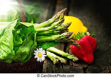 grün, spargel, erdbeeren, und, kopfsalat