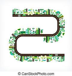 grün, stadt, -, umwelt, und, ökologie