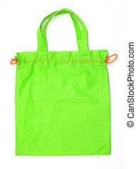 grün, stoff, tasche, freigestellt, weiß, hintergrund