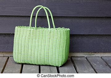 grün, strand sack