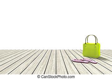 grün, tasche, auf, a, hölzerner stock, mit, weißer hintergrund