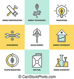 grün, technologie, und, saubere energie, wohnung, heiligenbilder, satz