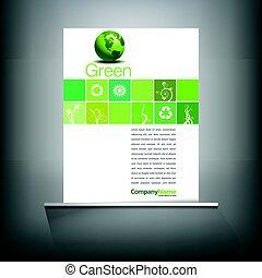 grün, umwelt, seite, schablone