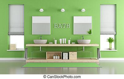 Grün, Und, Graue , Zeitgenössisch, Badezimmer, Mit, Waschbecken