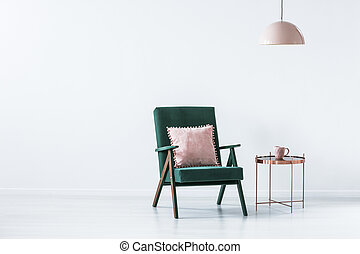 grün, und, rosa, einfache , inneneinrichtung