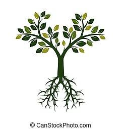 grün, vektor, baum, illustration., roots.