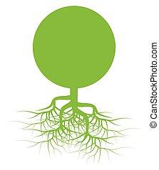 grün, vektor, baumwurzeln, hintergrund