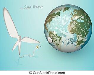 grün, vektor, turbinen, energy., wind